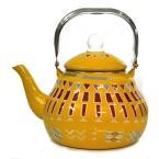 ابريق شاي غضار لون اصفر منقوش 2 لتر