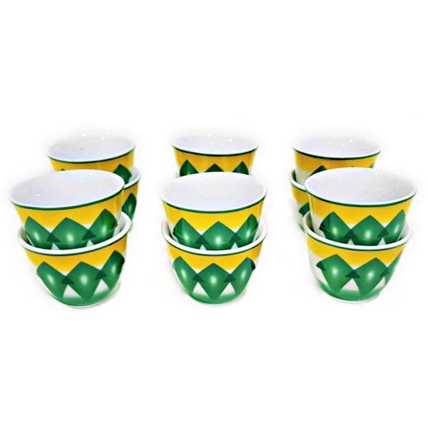 طقم فناجين قهوة غضار 12 قطعة - أخضر