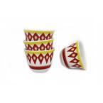 فناجيل القهوة العربية  غضار لون احمر عدد 12