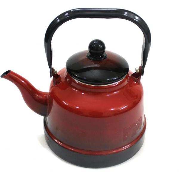 ابريق شاي غضار مطلي خليط اللون بالاحمر مع الاسود سعة 2.5 لتر