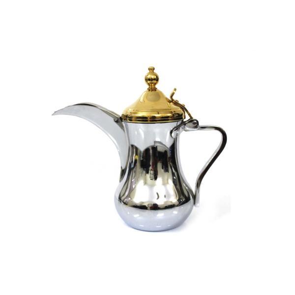 دلة العساف استانليس استيل فولاذ مقاوم للصدأ والخدوش فضي راس ذهبي مقاس 40