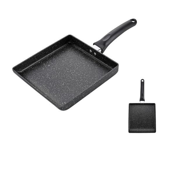 مقلاة طبخ مزدوجة دائرية اسود بطبقة سيراميك داخلية غير قابلة للالتصاق مع مقبض اسود 28 × 3.7