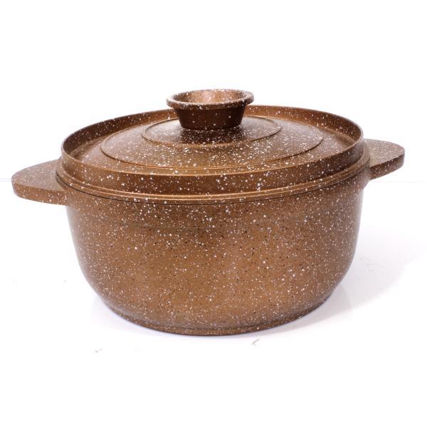 السنيدي قدر طبخ المونيوم مصبوب مع طلاء سيراميك بني مقاس  30 سم