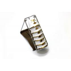 حامل تقديم وتنشيف 10 فناجيل قهوة صغيرة استانلس ستيل فضي مصفط 18.8*8.8*7.9 سم مع سبتة