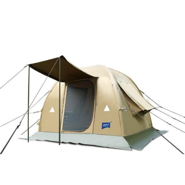 خيمة هوائية DPT قماش قطني كاكي غامق بمظلة باب مقاس 210 × 210 / 185 سم مع منفاخ يدوي + شنطة قماش DPTR-0052S