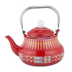 ابريق شاي شاهي غضار نقشة القط العسيري احمر 2 لتر