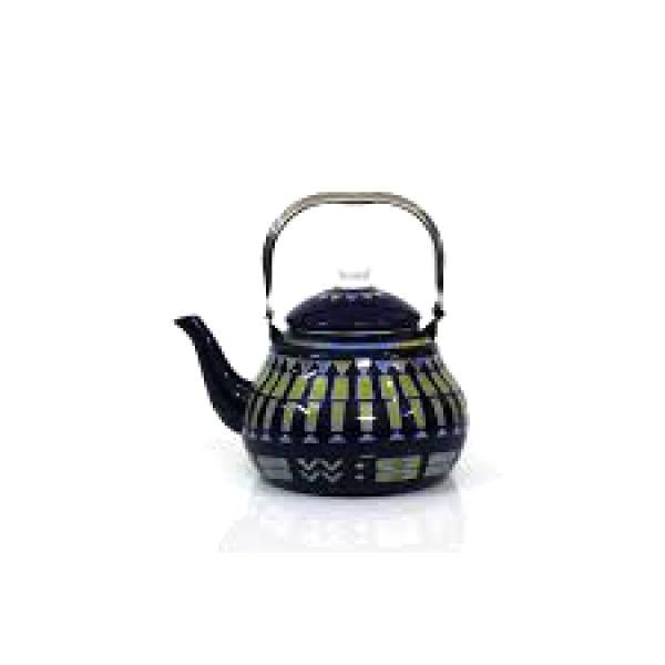 ابريق شاي شاهي غضار لون ازرق نقش القط العسيري 2 لتر