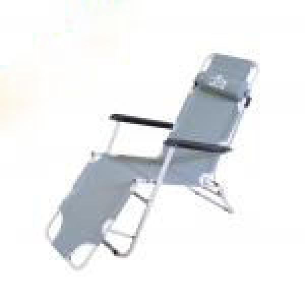 كرسي استرخاء وسرير للرحلات رصاصي