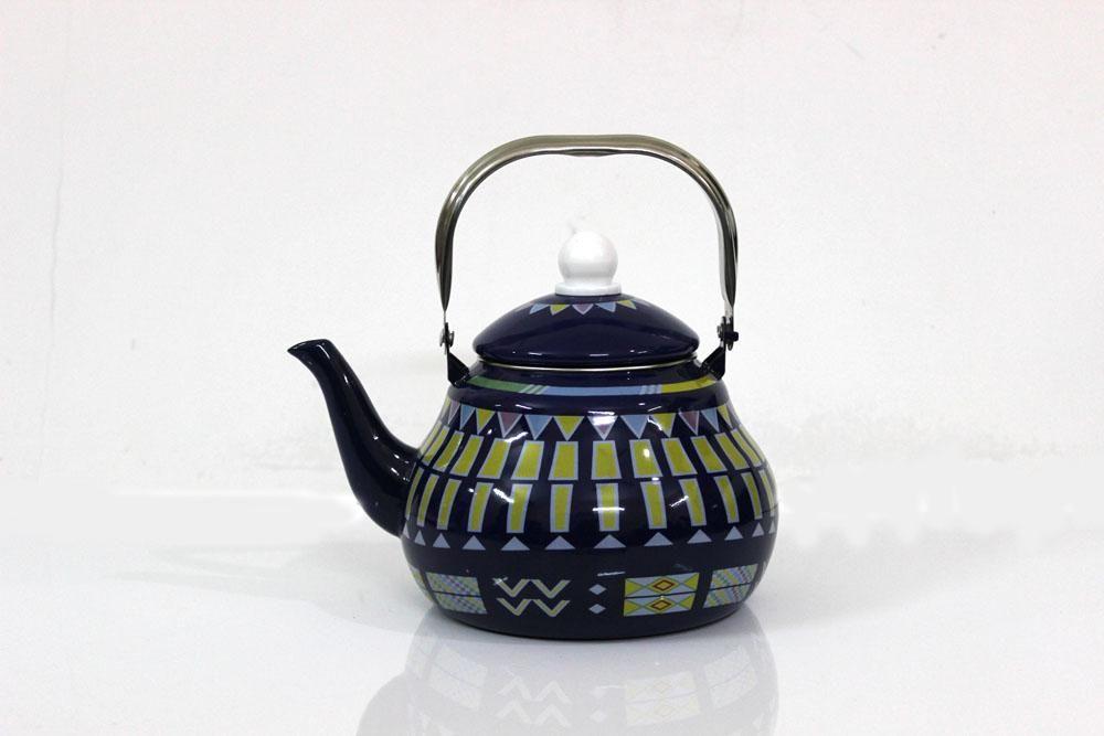 ابريق شاي شاهي غضار لون ازرق نقش القط العسيري 2.5 لتر
