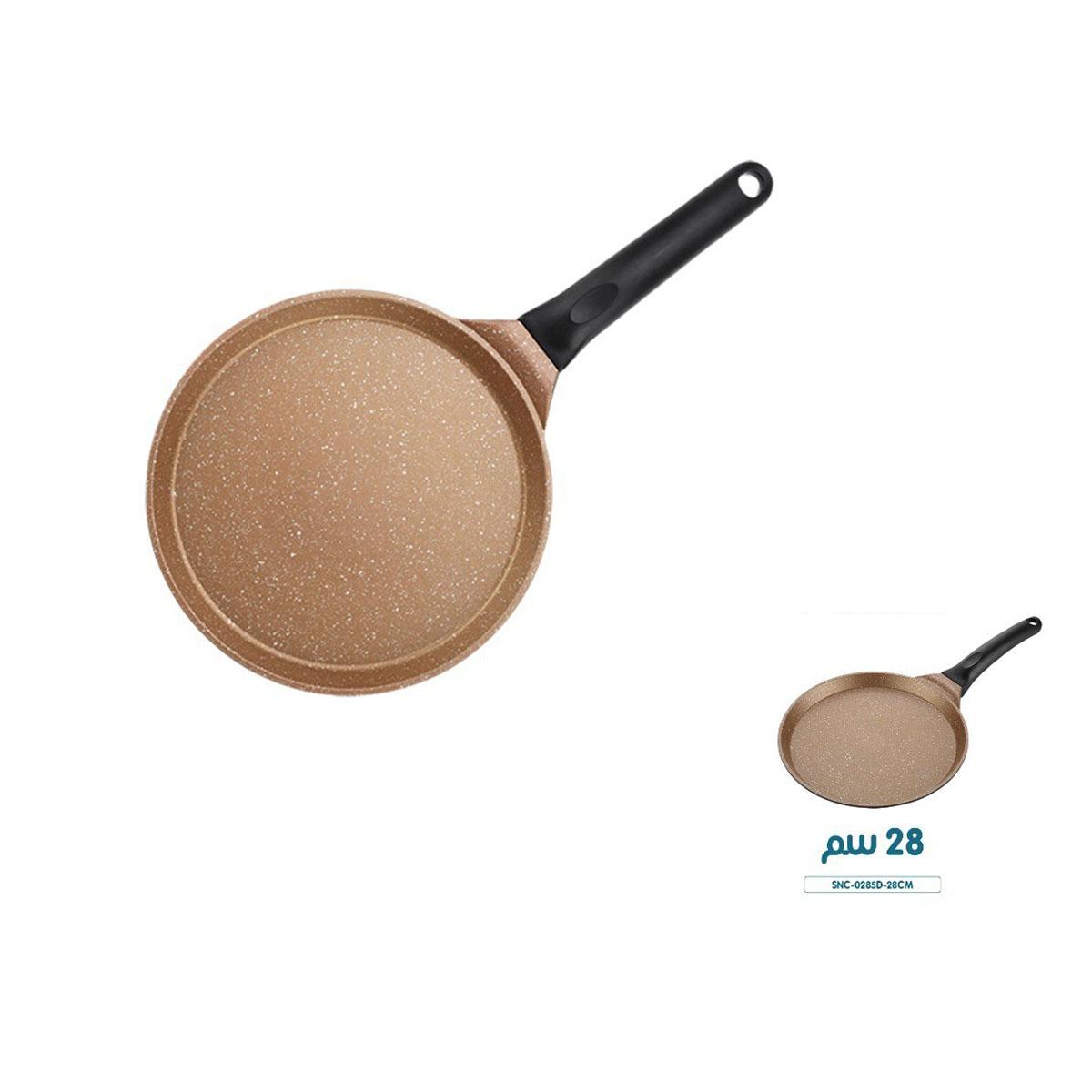 مقلاة طبخ مزدوجة دائرية بني بطبقة سيراميك داخلية غير قابلة للالتصاق مع مقبض اسود 32 × 4.3 سم