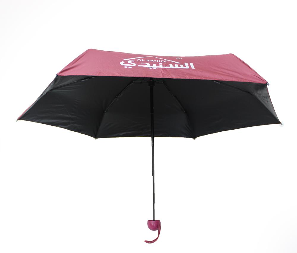 مظلة يدوية شمسية دائرية بعلبة بلاستيك شكل كبسولة تحمل باليد لون احمر غامق مقاس 90 سم
