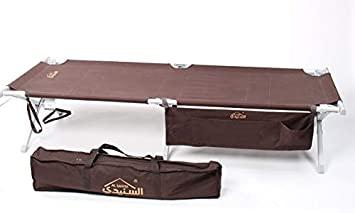 سرير نوم للمخيمات هيكل المنيوم فضي مصفط مطور قماش بني 190×66 SNBC-0061-SW