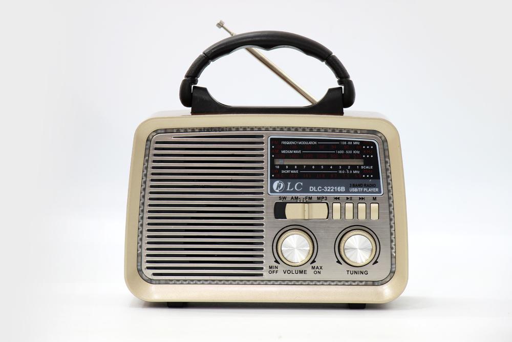 راديو قديم بني محروق مزود ببلوتوث ومدخل بطاقة ذاكرة اس دي، يو اس بي ومنفذ يو اكس DLC-32216B