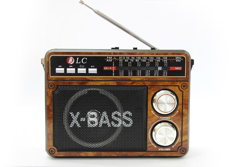 راديو قديم خشبي مزود ببلوتوث ومدخل بطاقة ذاكرة اس دي، يو اس بي ومنفذ يو اكس DLC-32208B