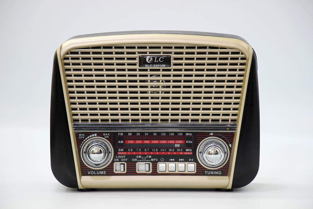 راديو قديم اسود مزود ببلوتوث ومدخل بطاقة ذاكرة اس دي، يو اس بي ومنفذ يو اكس DLC-32214B