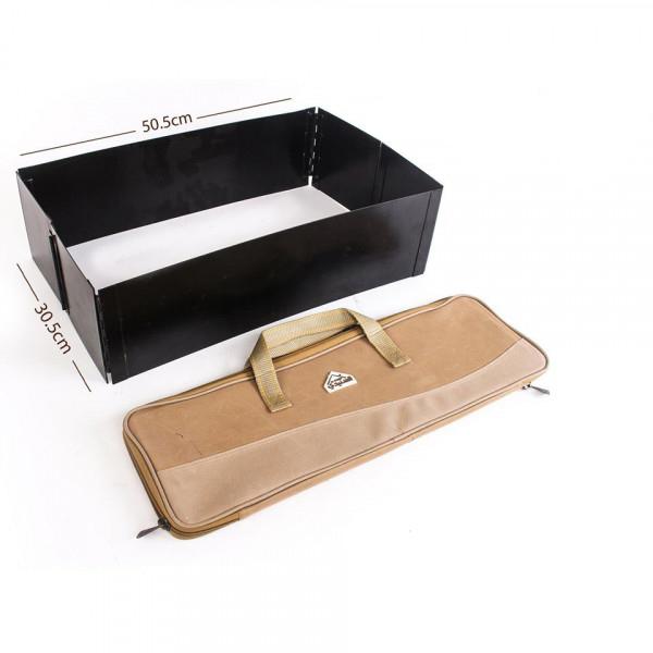 السنيدي منقل فحم مصفط مقاس 30.5 × 50.5 سم مع جراب قماش كاكي