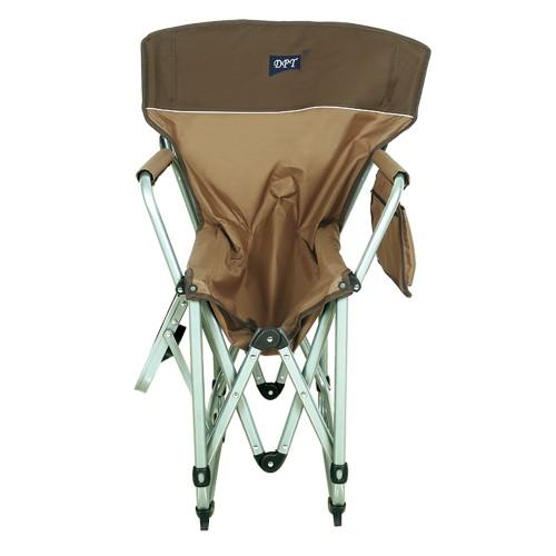 كرسي مخيمات DPT حديد ثقيل بأرجل بطاولة جانبية قماش بني فاتح مع كيس